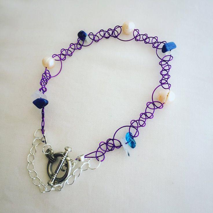 Purple Woven Bracelet with Pearls