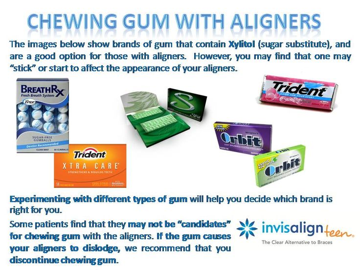 Chewing gum while having Invisalign aligners.