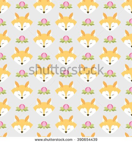 Seamless pattern with foxes and flowers. Bright colors. Gray background. Wrapping  For decorating postcards, backgrounds, packages. - stock vector