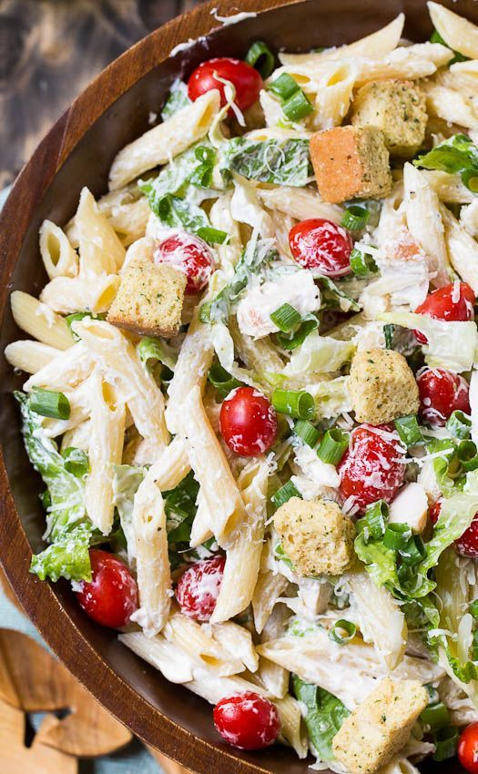 Chicken Caesar Pasta Salad with an easy and creamy homemade Caesar dressing. Great as a side dish or light spring meal. Recipe via spicysouthernkitchen.com