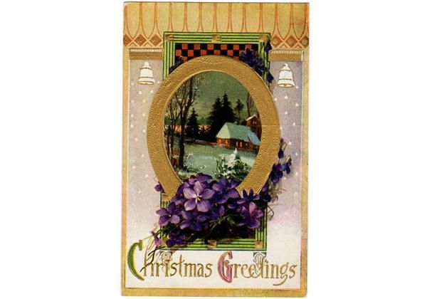 "Antique original embossed 1910s Christmas Postcard. Shows a snowy church scene, purple violets and white bells. Reads, ""Christmas Greetings""Card measures 3.5 x"