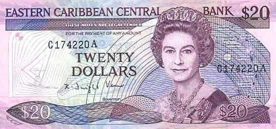 20 Долларов (1985-1993) Британские Виргинские острова (British Virgin Islands) Северная Америка