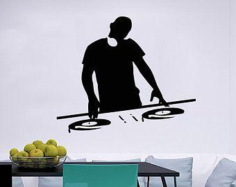 Dj Character Dancing Housewares Wall Vinyl Decal Sticker Art Design Modern Interior Art Home Decor Bedroom Recording Music Studio SV5161