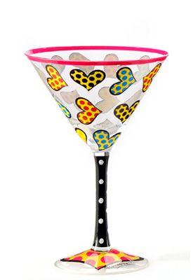MANY HEARTS martini glass $30