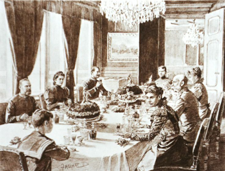 Franz Josef I and his family at the dinner in the imperial ...