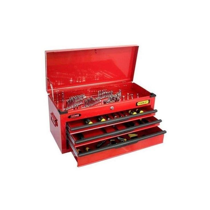 Caja de Herramientas Metálica de 3 cajones con 122 herramientas Stanley