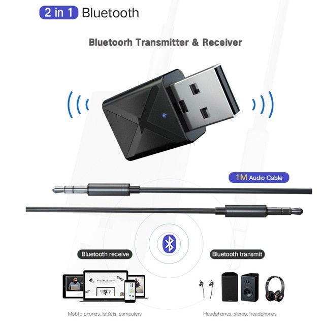 Car Mini USB Bluetooth 3.5 mm AUX Audio Stereo Music Transmit//Receiver Adapter