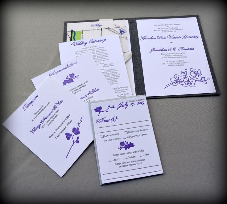 Orchid letterpress wedding invitation suite by Lucky