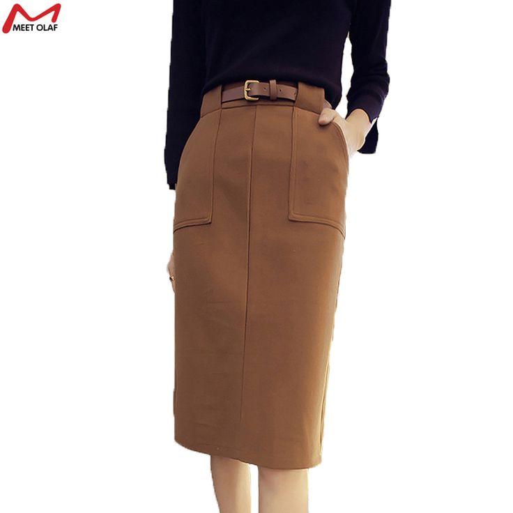 Юбки женщин 2015 осень зима юбка женщины природный талией юбка карандаш шерстяные хаки юбка Большой размер YL23