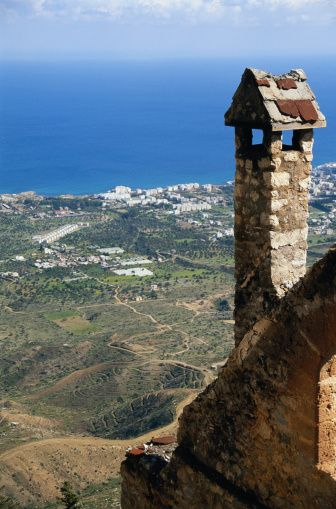 View from the Saint Hilarion Castle, on the Kyrenia mountain range, in Northern Cyprus.