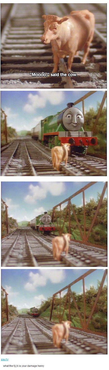 meme thomas tank engine cow