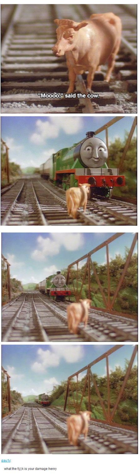 meme thomas tank engine cow