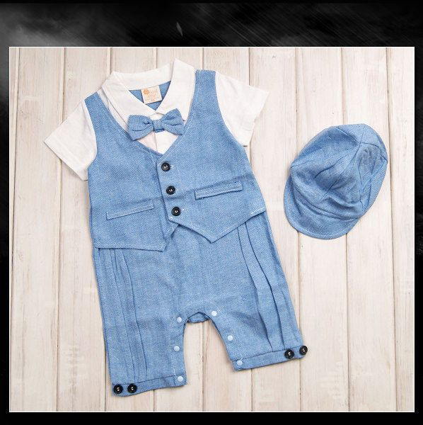 Baby Boy Formal Clothes, Toddlers Tuxedo Set (Smart Suit + Hat) Size 0 1 2 NEW