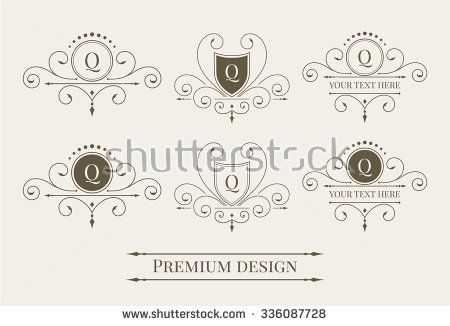 Set of luxury logo and monogram templates. Elegant calligraphic ornament pattern. Illustration for your restaurant, boutique, hotel, heraldic, jewelry, fashion etc. Raster copy of vector file. - stock photo