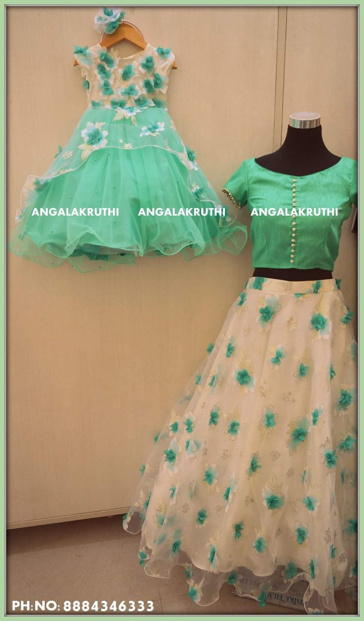 #Mother and daughter matching dress designs by Angalakruthi boutique Bangalore  #Mom n Me  #Me and my Mom matching dress designs #Family matching dress designs