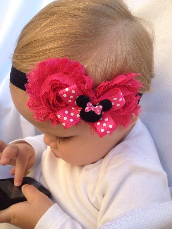 Minnie Mouse headband -  Disney headband- hot pink