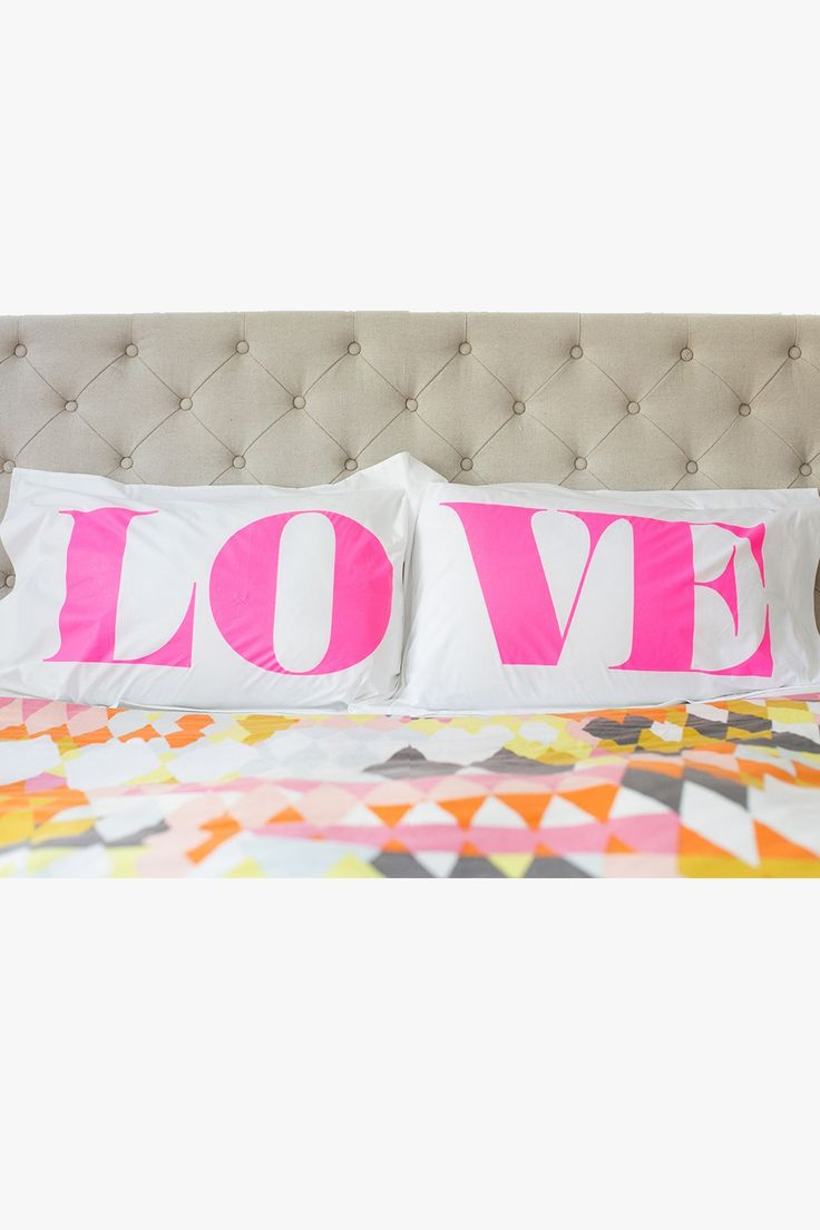 Love shammed pillowcases designed by Superette fluro pink