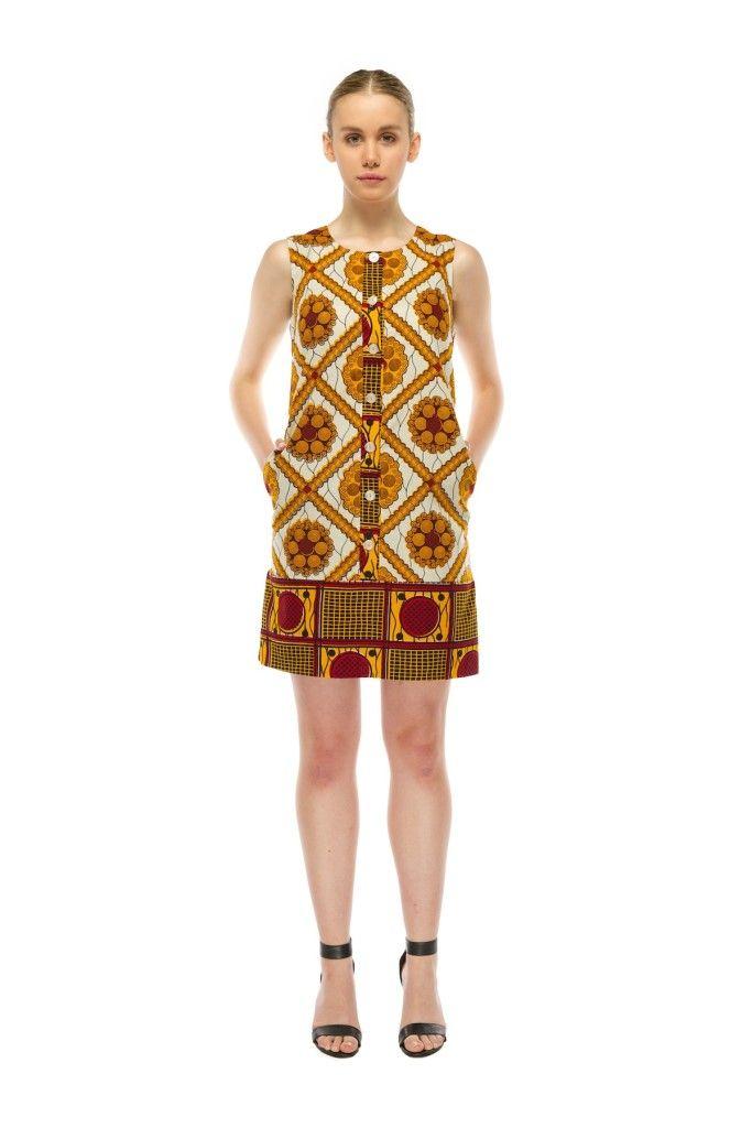 Tilda Shift Dress – Gold Square Print ~African fashion, Ankara, kitenge, African women dresses, African prints, Braids, Nigerian wedding, Ghanaian fashion, African wedding ~DKK