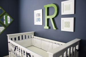 Navy, White and Green Nursery by delia