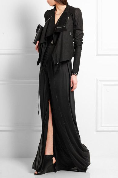 RICK OWENS Silk-jersey maxi dress$1,115  | Rick Owens' black maxi dress is cut in a slim fit from fluid silk-jersey and lightly fluted for a softly draped effect. This Italian-made piece is ideal for layering and is slit through the skirt so it floats weightlessly. Wear it with a leather jacket to channel the brand's effortlessly cool aesthetic.