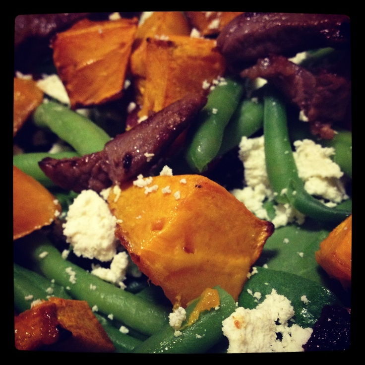 Lamb, Roasted Pumpkin and Feta Salad from Michelle Bridges  Foods I Love on this 12wbt journey too! http://12wbtmyjourney.blogspot.com.au/