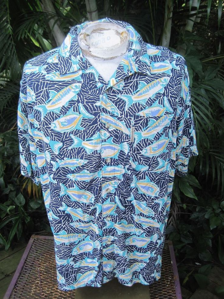 Hawaiian aloha shirt m pit to pit 25 columbia rayon linen for Fish hawaiian shirt