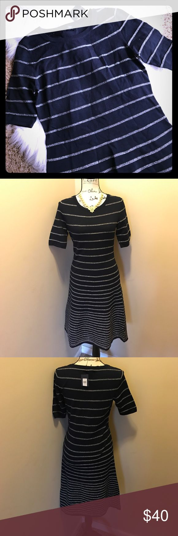 NWT short sleeve Tommy Hilfiger dress NWT short sleeve Tommy Hilfiger dress. Navy with silver stripes Tommy Hilfiger Dresses