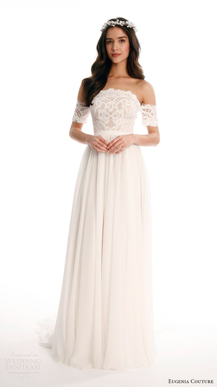 eugenia couture joy bridal spring 2017 strapless lace top detachable sleeves aline skirt wedding dress (candie) mv