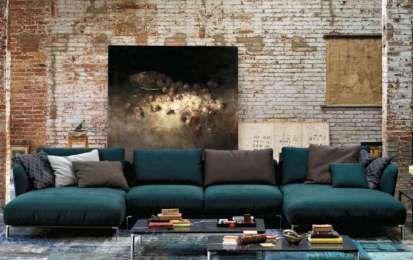 Idee per arredare il soggiorno con il color verde petrolio - Divano di grandi dimensioni