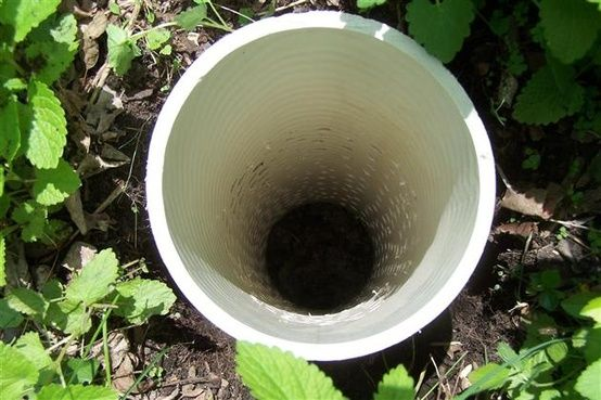 "Worm Tower: Drill lots of holes in a pvc pipe. Bury all but 6"" in garden. Place kitchen scraps in the hole. Worms will come in & eat & transfer the ""goodies"" throughout your garden!!"