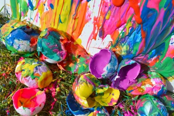 Paint filled eggs on canvas