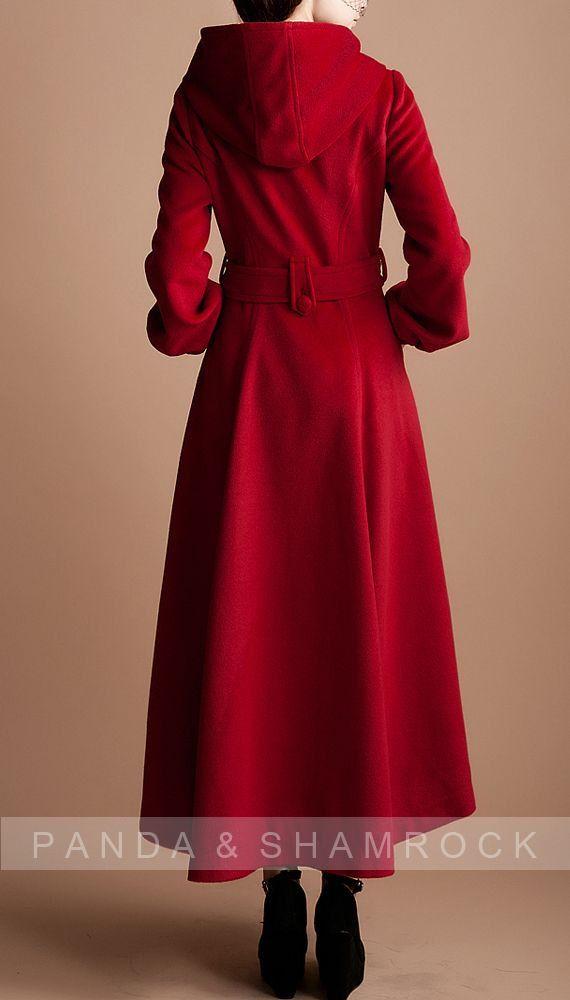 red riding hood/women clothing/long coat/high collar/belt ...