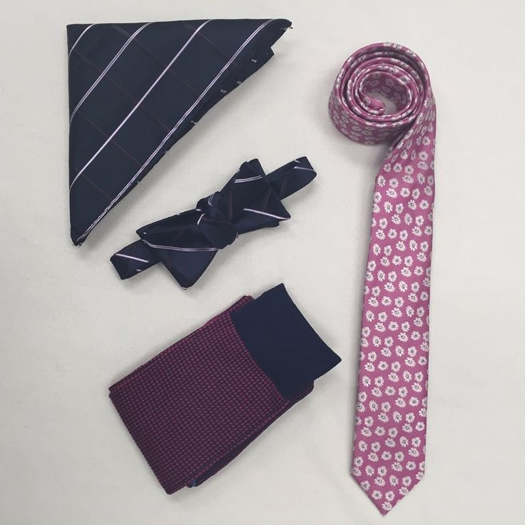 Mix and match pink and blues accessories for the groom and groomsmen.