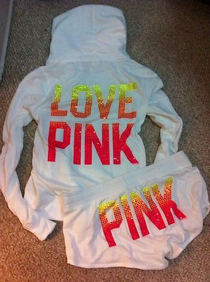 New Victorias Secret Pink Hoodie and Shorts Set Medium Bling
