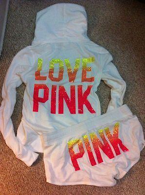 New Victorias Secret Pink Hoodie and Shorts Set Medium Bling