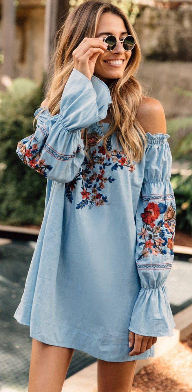 #summer #outfits Blue Floral Embroidered Off The Shoulder Dress