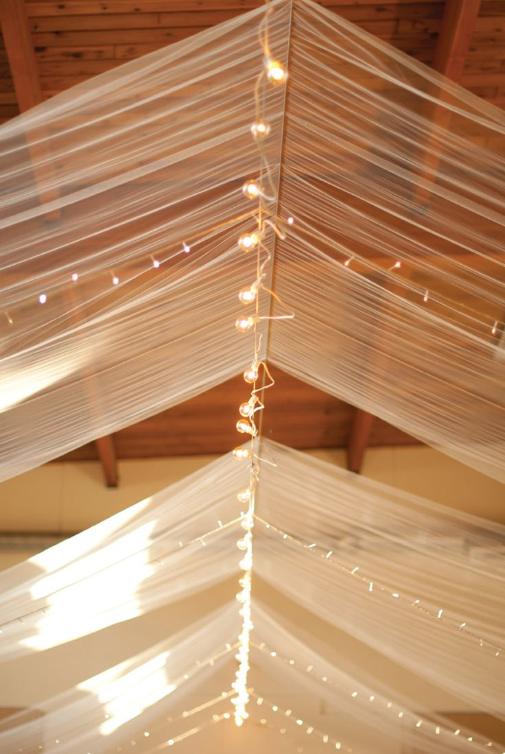 Bedroom ceiling drapes - Use Clothes Drying Line Or Heavy Gauge Wire To Hang Fabric And Lighting On Back