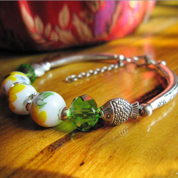 Hot Sale Miao Silver National Customers Fish color Ceramics Hand Made Popular Bracelets J015