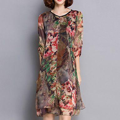 Women's+Chinoiserie+Print+Plus+Size+Dress,V+Neck+Knee-length+Silk+–+USD+$+18.99
