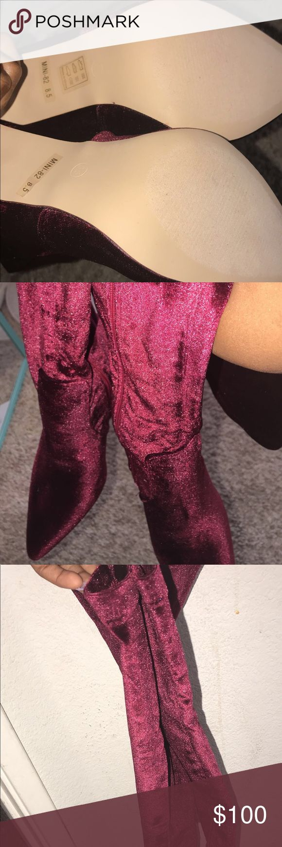 Wine boots/sell I purchased these Bomb Ass Boots that i really do not want to Let Go... but I can't fit them and I've been too busy to send them back 🤦🏽♀️🤷🏽♀️ So I'm willing to let them go for a decent price and to a person who can rock these Bad Babies‼️‼️ Fashion Nova Shoes Heels