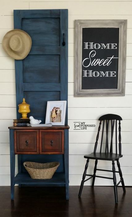 roundup of several great repurposed door ideas including my hall tree made from a sewing cabinet & 96 best The BEST repurposed doors ideas images on Pinterest | Old ...