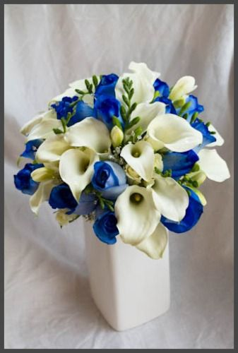 Calla Lilies And Blue Roses Reception Wedding Flowers Decor Flower