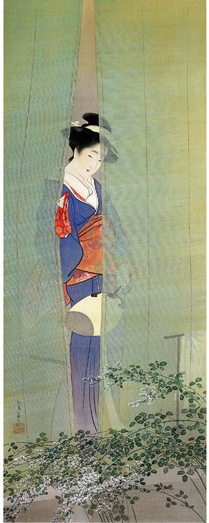 "by Uemura Shōen (Japanese, 1875–1949) Uemura Shōen Bio via: Wiki ""Uemura Shōen (上村 松園?, April 23, 1875 – August 27, 1949) was the pseudonym of an important woman artist in Meiji, Taishō and early Shōwa period Japanese painting. Her real name was Uemura Tsune. Shōen was known primarily for her bijinga paintings of beautiful women in the nihonga style, although she also produced numerous works on historical themes and traditional subjects."