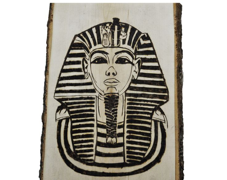 Rectangle Plaque Pharaoh King Tut Ankh amun burnt crafted wood custom made art