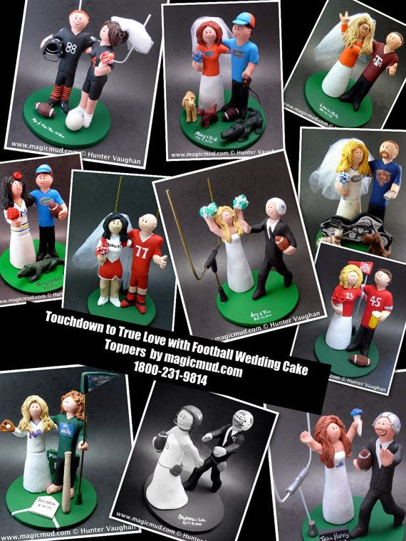 Football Wedding Cake Toppers - Football Bride Wedding Cake Topper  Personalized Custom Made Wedding Cake Topper, created just for you!     This photographed listing is but an example of what we will create for you....simply email or call toll free with your own info and pictures of yourselves, and we will sculpt for you a treasured memory from your wedding!    $235 #magicmud 1 800 231 9814 www.magicmud.com