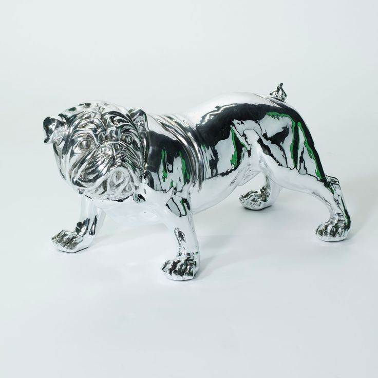 Extra Large Electro Plated Bulldog Statue Ornament This Stunning Silver Ornament Is A Beautiful