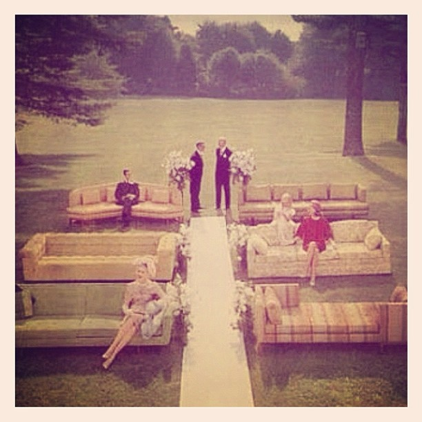 Love this idea for wedding ceremony seating... big comfy vintage lounges in mismatched fabrics! (Follow The LANE on instagram: the_lane)  #TheLANEweddings #BulgariResortBaliEscape