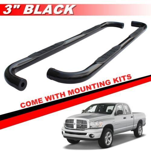 "3"" Black Round Side Steps Nerf Bars For 2009-2017 DODGE RAM 1500 QUAD CAB"