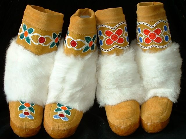Beautiful leather mukluks are half-trimmed with rabbit fur. Intricate beadwork trims the top and toes of these warm winter boots. http://www.arctictradingco.com/products/S-433.html