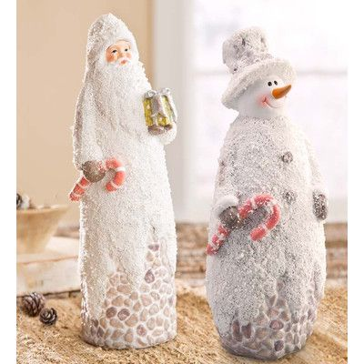 Wind & Weather Pebbled Santa and Snowman Statue You'll Love   Wayfair